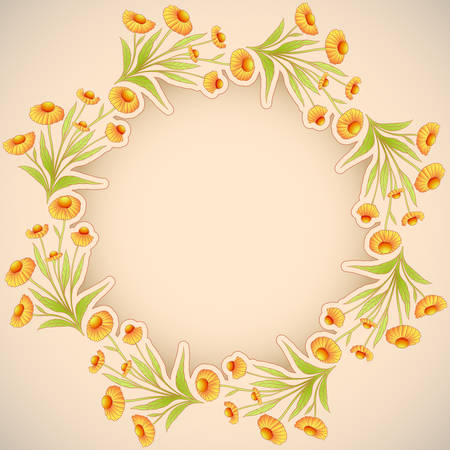 borders plants: Vector beige background with helenium flowers frame and space for text.