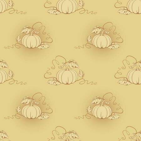 Vector seamless beige background with beige pumpkins.