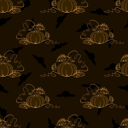 fall harvest: Vector seamless brown background with pumpkins and bats.