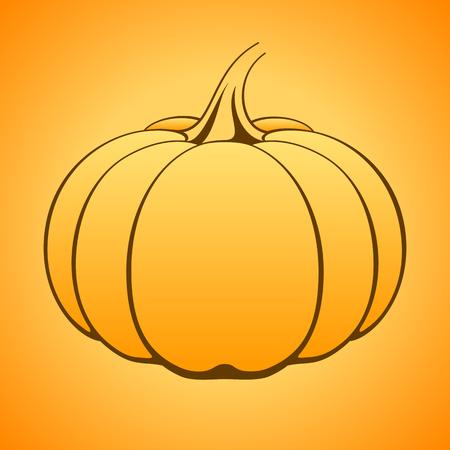fruit stem: Vector pumpkin icon on orange gradient background.