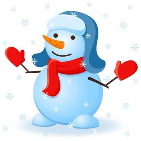 Vector christmas carte d'invitation avec bonhomme de neige.