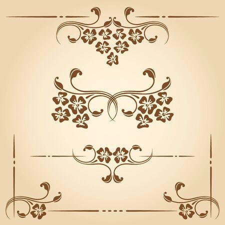 border vintage: Vector set of floral decorative elements for design.