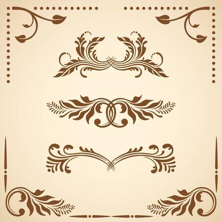Vector set of floral decorative elements for design.