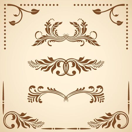 the renaissance: Vector set of floral decorative elements for design.