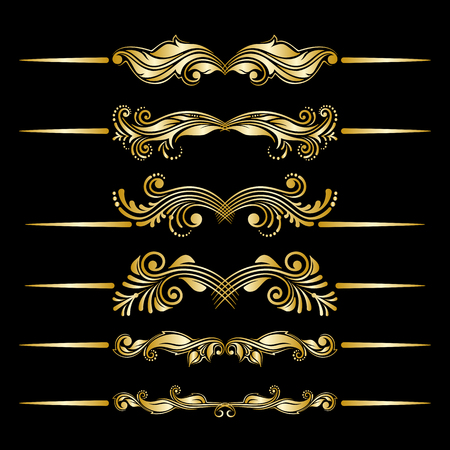 filigree: Vector set of golden floral filigree dividers.