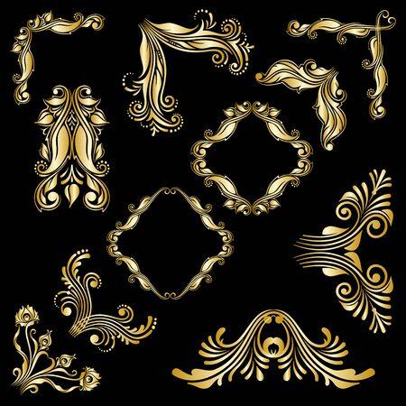 the renaissance: Vector set of gold floral decorative elements for design.