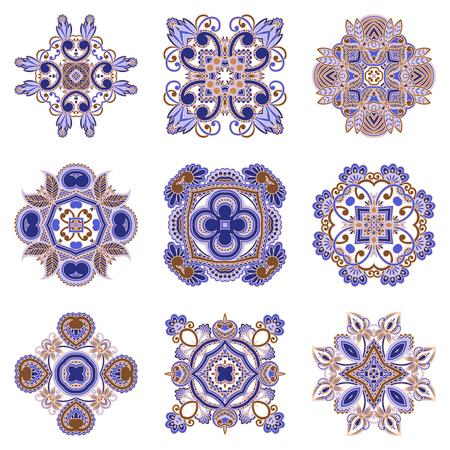 bordado: Vector set of vintage floral decorative elements for design, print, embroidery. Vectores