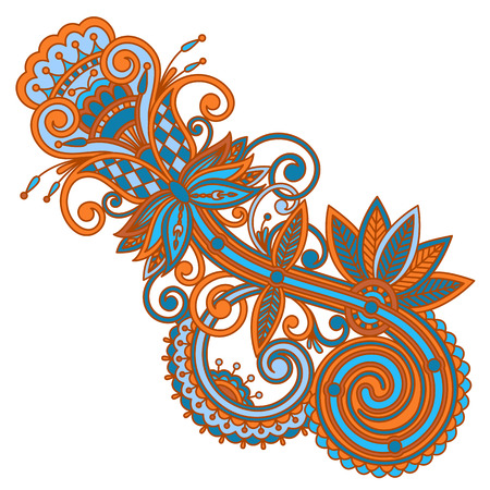 decorative element: vintage floral decorative element for design, print, embroidery.