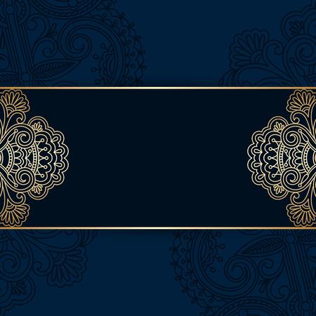 arabesque pattern: floral decorative background, template frame design for card, brochure, book, business card, postcard, wedding invitation, banner.