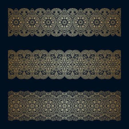 Vector set of vintage floral decorative seamless elements for design, print, embroidery. Illustration