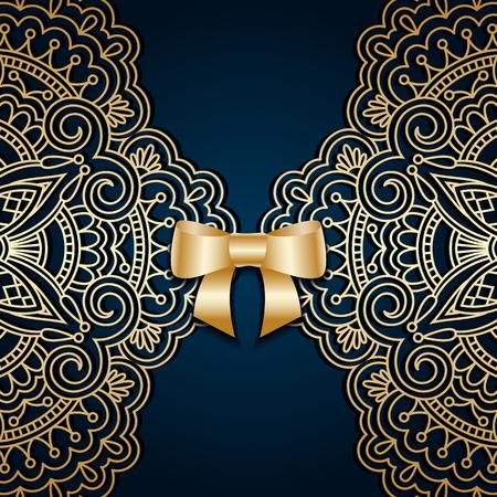 arabesco: saludo vector o tarjeta de invitación con estampado de flores de encaje de la vendimia y arqueamiento de la cinta.