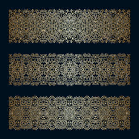decorative element: Vector set of vintage gold floral decorative seamless elements for design, print, embroidery.