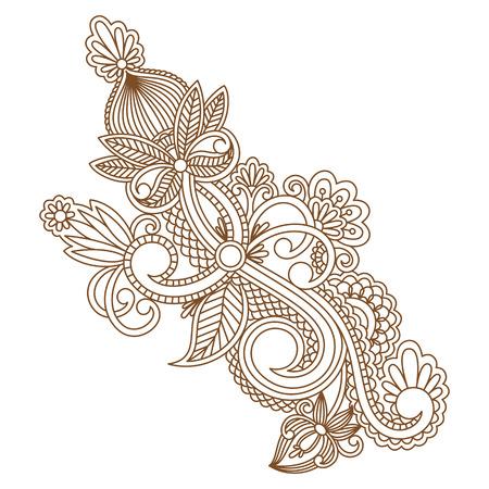 bordado: Vector vintage floral decorative element for design, print, embroidery.