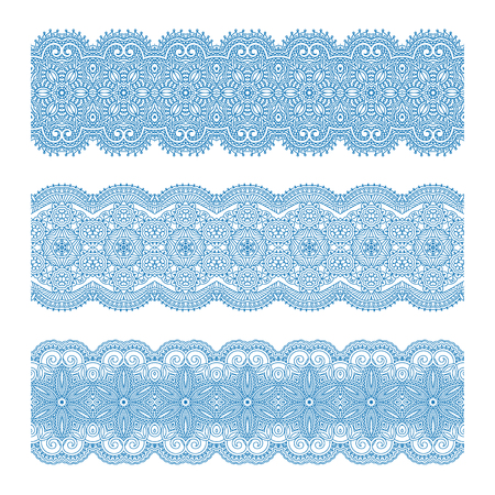 design vector: Vector set of vintage floral lace seamless elements for design, print, embroidery.