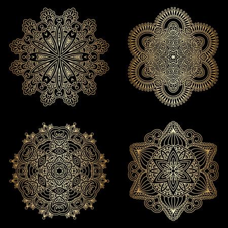 broderie: Vector ensemble d'éléments floraux décoratifs sans couture vintage pour la conception, l'impression, la broderie.