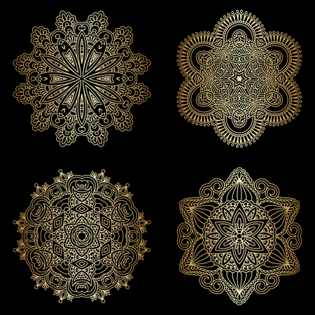 embroidery: Vector set of vintage floral decorative seamless elements for design, print, embroidery. Illustration
