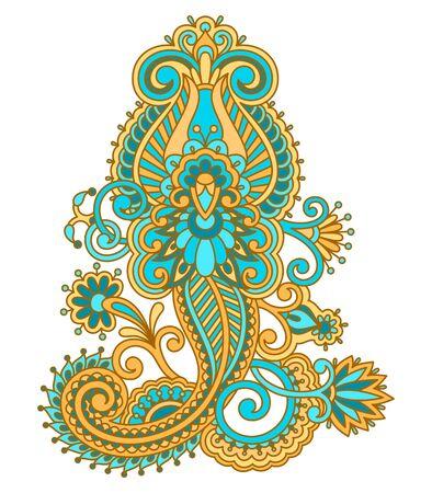 bordado: Vector elemento decorativo floral de la vendimia para el diseño, impresión, bordado.