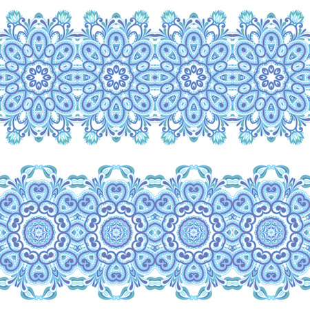 baroque border: Vector set of vintage floral lace seamless elements for design, print, embroidery.