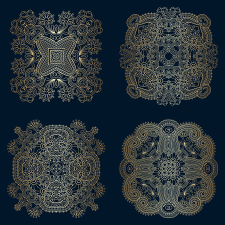 floral elements: Vector set of vintage floral decorative round elements for design, print, embroidery.