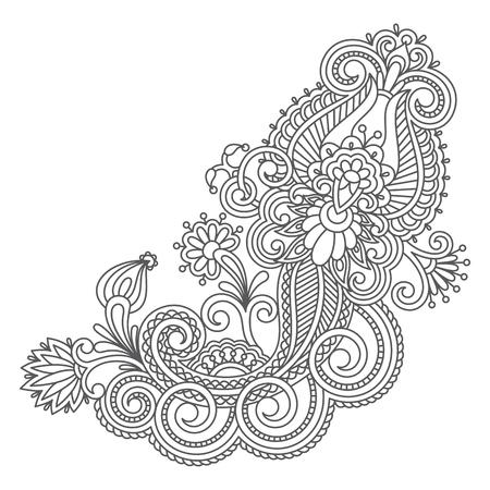 for design: Vector vintage floral decorative element for design, print, embroidery.