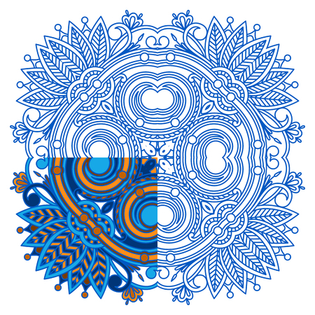segmento: Vector ornament for coloring. The segment is painted for an example.