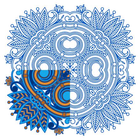 segmentar: vector ornamento para colorear. El segmento está pintado para un ejemplo.