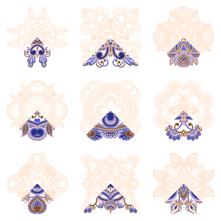 for example: Vector set ornaments for coloring. The segment is painted for an example. Illustration