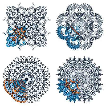 segmentar: Conjunto de vectores adornos para la coloración. El segmento está pintado para un ejemplo. Vectores