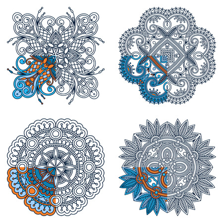segment: Vector set ornaments for coloring. The segment is painted for an example. Illustration