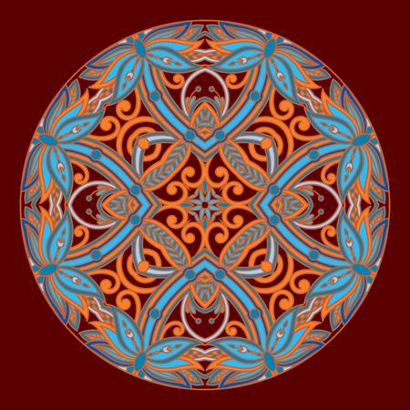 pattern antique: Vector vintage floral decorative round element for design, print, embroidery.