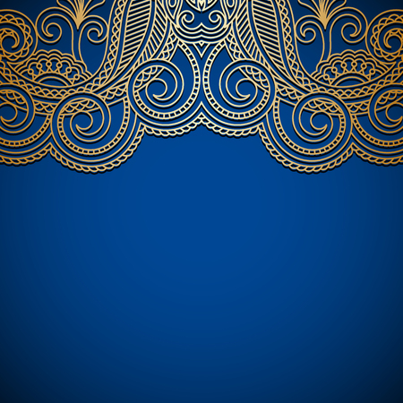 bue: Vector background with gold floral pattern and place for text for greeting or invitation card. Illustration