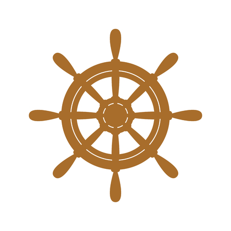 ship wheel: Vector brown ship wheel icon on white background.