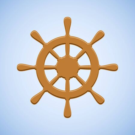 wooden circle: Vector brown ship wheel on blue background.