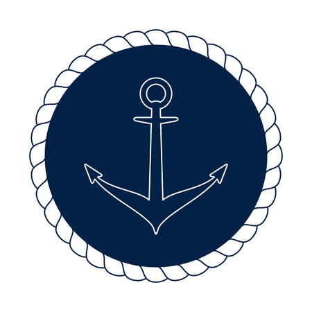 heavy vehicle: Vector blue nautical anchor in round rope. Illustration