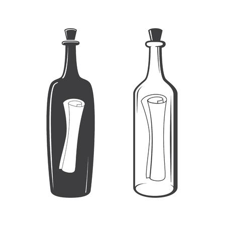 letras negras: Vector dos botellas con mensaje de emergencia. En blanco y negro.