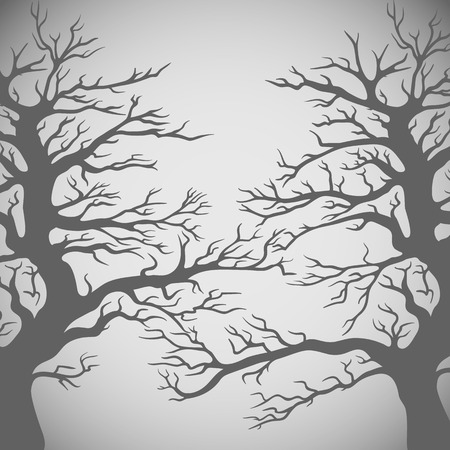 stems: Vector dark trees silhouette on gray background. Illustration