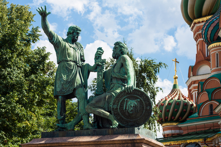 minin: Monument to Minin and Pozharsky in St. Basils Cathedral of Kremlin fortress, Russia. Stock Photo