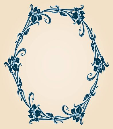 vintage border: Vector art deco ornamental background with iris and space for text.