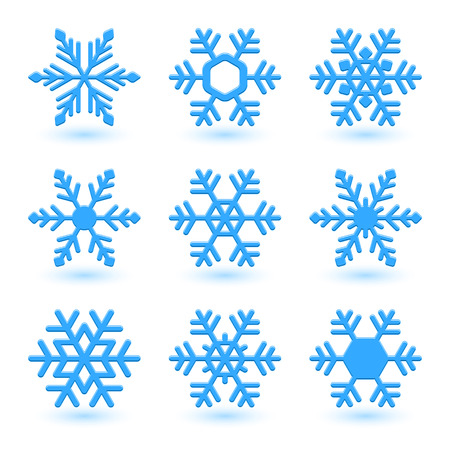 ice surface: Vector illustration with snowflakes and shadow on white background.