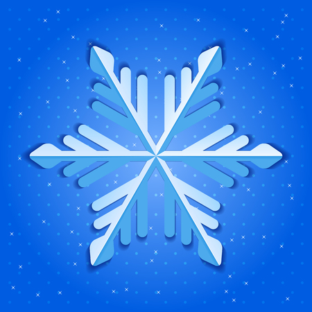 Vector illustration with snowflake and shadow on blue background.