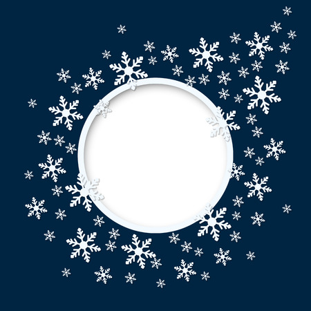 Vector christmas blue invitation card with round place for text and snowflakes.