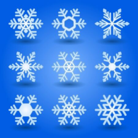 ice surface: Blue snowflakes and shadow on blue background.