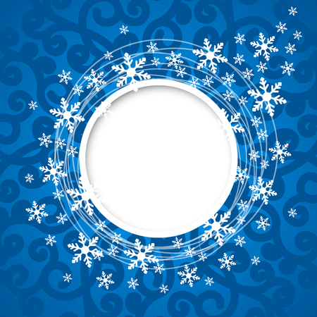Vector christmas blue greeting card with round place for text and snowflakes. Illustration