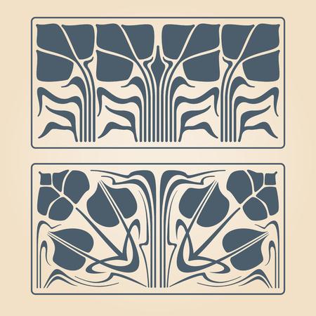 Vector art deco two floral square ornaments.