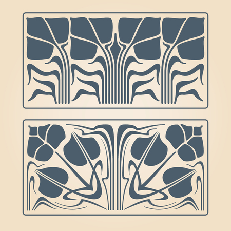 vector art: Vector art deco two floral square ornaments.