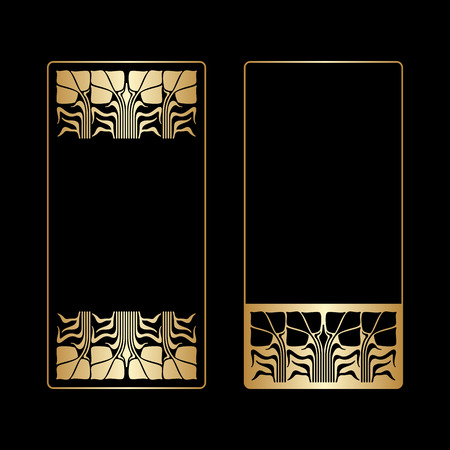 black borders: Vector art deco golden frames with space for text.