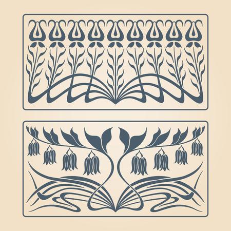 vintage border: Vector art deco two floral square ornaments.
