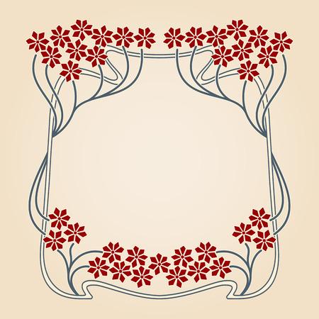 borde de flores: tarjeta de la invitación del vector con el marco de art deco y el espacio para el texto. Vectores