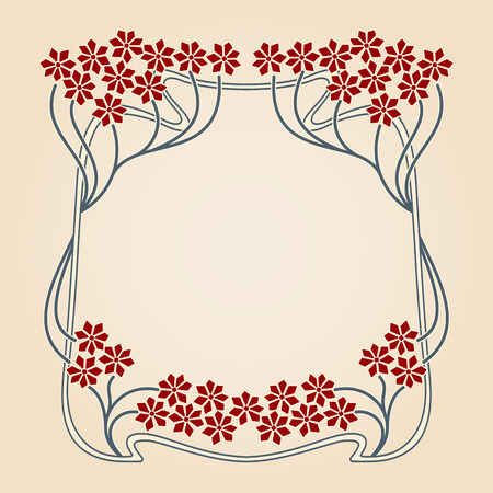 flower border: Vector invitation card with art deco frame and space for text.
