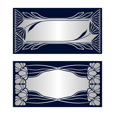 art frame: Vector invitation cards with art deco ornament and space for text. Illustration